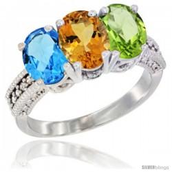 14K White Gold Natural Swiss Blue Topaz, Citrine & Peridot Ring 3-Stone 7x5 mm Oval Diamond Accent