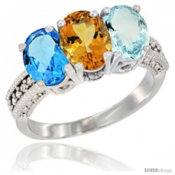 14K White Gold Natural Swiss Blue Topaz, Citrine & Aquamarine Ring 3-Stone 7x5 mm Oval Diamond Accent