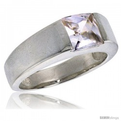 Sterling Silver 2.0 Carat Size Princess Cut Cubic Zirconia Solitaire Ring