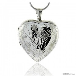 Sterling Silver Very Large Hand Engraved Heart Locket, about 1 1/2 X 1 5/8 in