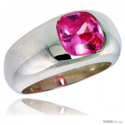 Sterling Silver 1.9 Carat Size Brilliant Cut Pink Tourmaline Colored CZ Solitaire Ring