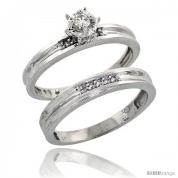 10k White Gold Ladies' 2-Piece Diamond Engagement Wedding Ring Set, 1/8 in wide -Style 10w119e2