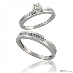 10k White Gold 2-Piece Diamond wedding Engagement Ring Set for Him & Her, 3.5mm & 4mm wide -Style 10w119em