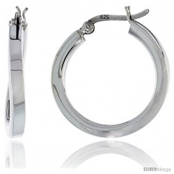 Sterling Silver Wavy Square Tube Hoop Earrings, 1 in