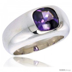 Sterling Silver 1.9 Carat Size Brilliant Cut Amethyst Colored CZ Solitaire Ring