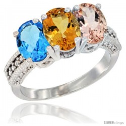 14K White Gold Natural Swiss Blue Topaz, Citrine & Morganite Ring 3-Stone 7x5 mm Oval Diamond Accent