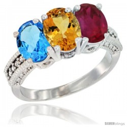 14K White Gold Natural Swiss Blue Topaz, Citrine & Ruby Ring 3-Stone 7x5 mm Oval Diamond Accent