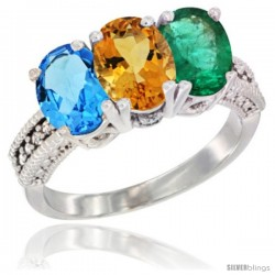 14K White Gold Natural Swiss Blue Topaz, Citrine & Emerald Ring 3-Stone 7x5 mm Oval Diamond Accent