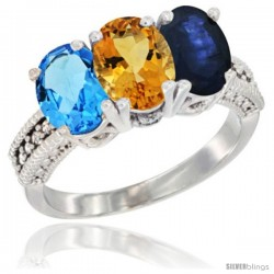 14K White Gold Natural Swiss Blue Topaz, Citrine & Blue Sapphire Ring 3-Stone 7x5 mm Oval Diamond Accent