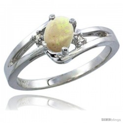 10K White Gold Natural Opal Ring Oval 6x4 Stone Diamond Accent -Style Cw920165