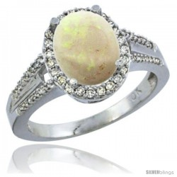 10K White Gold Natural Opal Ring Oval 10x8 Stone Diamond Accent