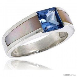 Sterling Silver 2.0 Carat Size Princess Cut Blue Topaz Colored CZ Mother of Pearl Solitaire Ring