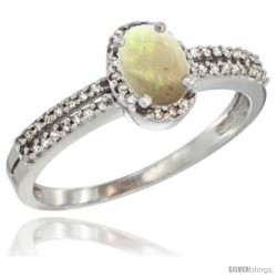 10K White Gold Natural Opal Ring Oval 6x4 Stone Diamond Accent -Style Cw920178