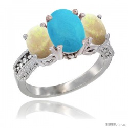10K White Gold Ladies Natural Turquoise Oval 3 Stone Ring with Opal Sides Diamond Accent