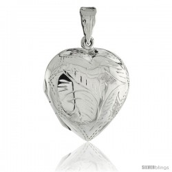 Sterling Silver Large Hand Engraved Heart Locket, 1 1/8 x 1 1/4 in