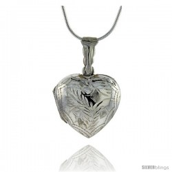 Sterling Silver Hand Engraved Heart Locket, 7/8 wide by 15/16 in. high