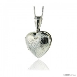 Sterling Silver Hand Engraved Heart Locket, 13/16 wide by 13/16