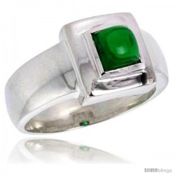 Sterling Silver .75 Carat Size Princess Cut Emerald Colored CZ Solitaire Ring