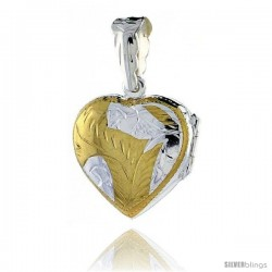 Sterling Silver Two Tone Hand Engraved Heart Locket, 13/16 in. wide by 13/16
