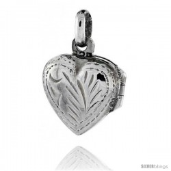 Tiny Sterling Silver Hand Engraved Heart Locket, 1/2 in (12 mm) wide