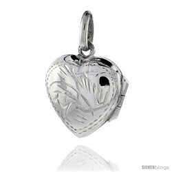 Tiny Sterling Silver Hand Engraved Heart Locket, 9/16 in. (14 mm) Wide