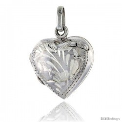 Small Sterling Silver Hand Engraved Heart Locket, 5/8 in X 5/8 in