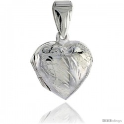 Sterling Silver Hand Engraved Heart Locket, 11/16 in X 11/16 in