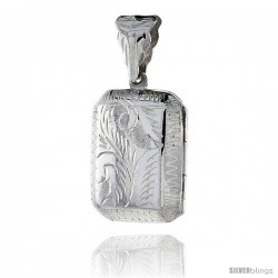 Sterling Silver Hand Engraved Rectangular Locket, 11/16 in X 13/16 in