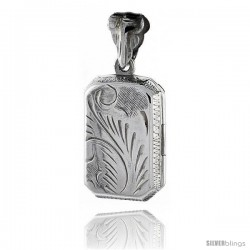 Sterling Silver Hand Engraved Rectangular Locket, 5/8 in X 13/16 in