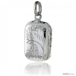 Small Sterling Silver Hand Engraved Rectangular Locket, 1/2 in X 11/16 in