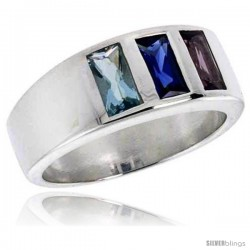 Sterling Silver Multi Colored Emerald Cut CZ Ring