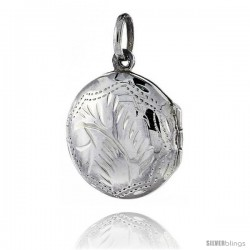 Small Sterling Silver Hand Engraved Round Locket, 11/16 in. (18 mm)