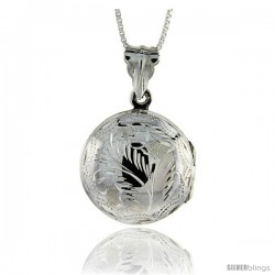 Sterling Silver Hand Engraved Round Locket, 13/16 in