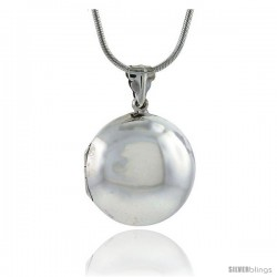 Sterling Silver Plain Round Locket, 1 1/8 in