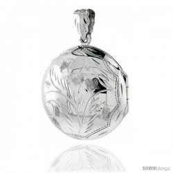 Large Sterling Silver Hand Engraved Round Locket, 1 3/16 in. (30 mm)