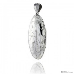 Large Sterling Silver Hand Engraved Oval Locket, 3/4 in. (20 mm) X 1 5/8 in. (42 mm)