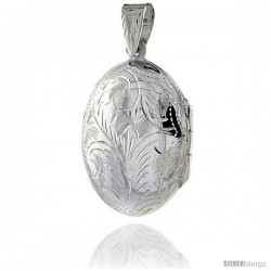 Sterling Silver Hand Engraved Oval Locket, 7/8 in. (23 mm) X 1 1/8 in. (28 mm)