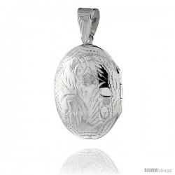 Sterling Silver Hand Engraved Oval Locket, 11/16 in. (18 mm) X 1 in. (25 mm)