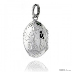 Small Sterling Silver Hand Engraved Oval Locket, 9/16 in. (14 mm) X 11/16 in. (18 mm)