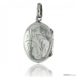 Small Sterling Silver Hand Engraved Oval Locket, 1/2 in. (12 mm) X 5/8 in. (17 mm)