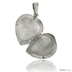 Sterling Silver Large Hand Engraved Heart Locket, 1 1/4 x 1 1/4 in