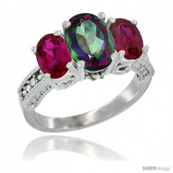 10K White Gold Ladies Natural Mystic Topaz Oval 3 Stone Ring with Ruby Sides Diamond Accent