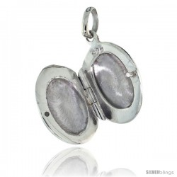 Small Sterling Silver Hand Engraved Oval Locket, 1/2 in. (12 mm) X 5/8 in. (17 mm) -Style Tl65