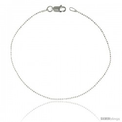 Sterling Silver Italian Faceted Pallini Bead Ball Chain Necklaces & Bracelets very fine 1mm Nickel Free.