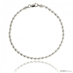 Sterling Silver Italian Oval Pallini Bead Ball Chain Necklaces & Bracelets 2.3mm Nickel Free