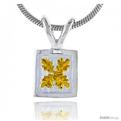 Hawaiian Theme Sterling Silver 2-Tone Flower Pendant, 5/16 (8 mm) tall -Style 6hp37