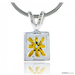 Hawaiian Theme Sterling Silver 2-Tone Flower Pendant, 5/16 (8 mm) tall -Style 6hp40