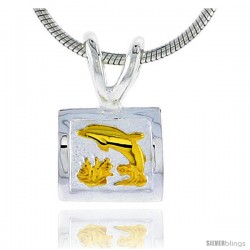 Hawaiian Theme Sterling Silver 2-Tone Dolphin Pendant, 5/16 (8 mm) tall