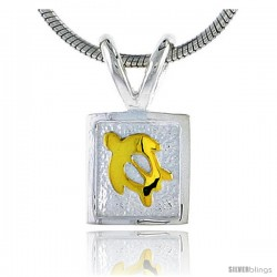 Hawaiian Theme Sterling Silver Two-Tone Sea Turtle Pendant, 5/16 (8 mm) tall