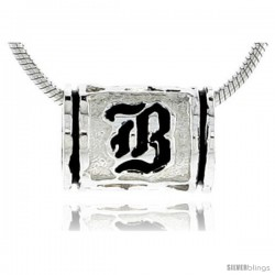 Sterling Silver Hawaiian Initial Letter B Barrel Bead Pendant, 1/2 in wide